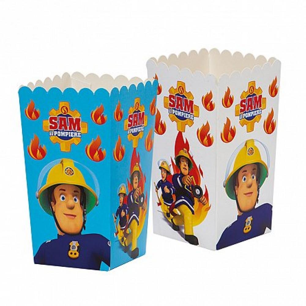 Cutii Party carton impermeabil, Pompierul Sam, 7 x 7 x H 14 cm, 6 buc/set