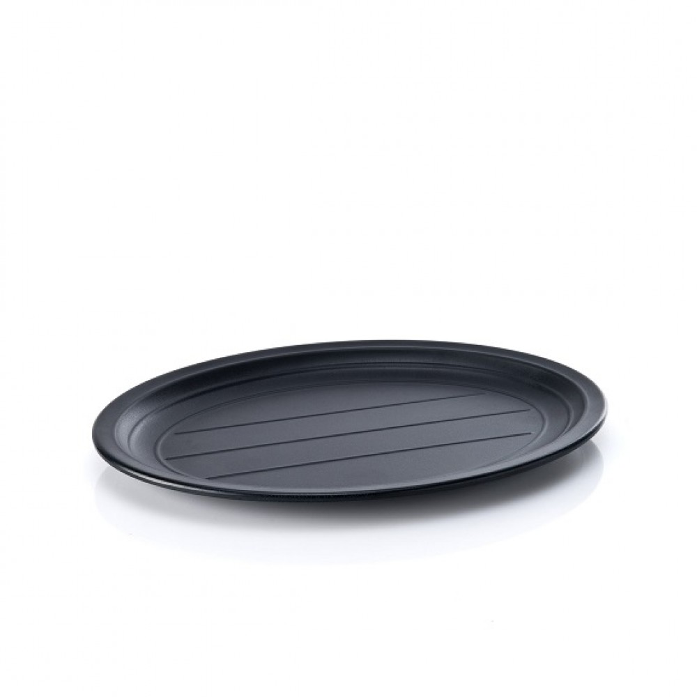 Tava melamina ovala neagra prezentare/servire 31,5 x 23 cm